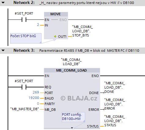 S7-1200 ovládání FUJI měniče FRENIC-Ace přes RS485
