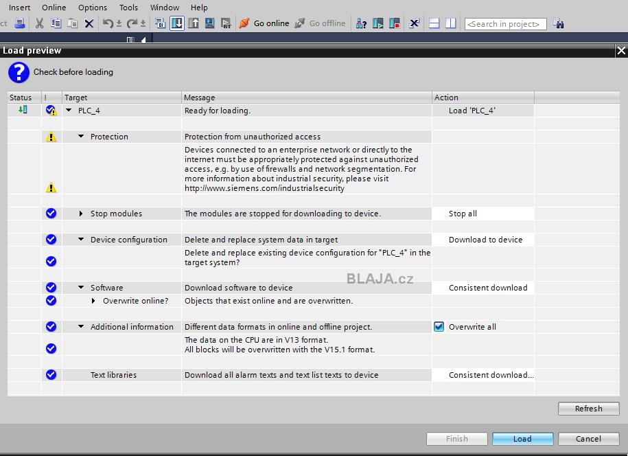 Upgrade projektu TIA Portal V13+SP1 do V15 1 a download do CPU