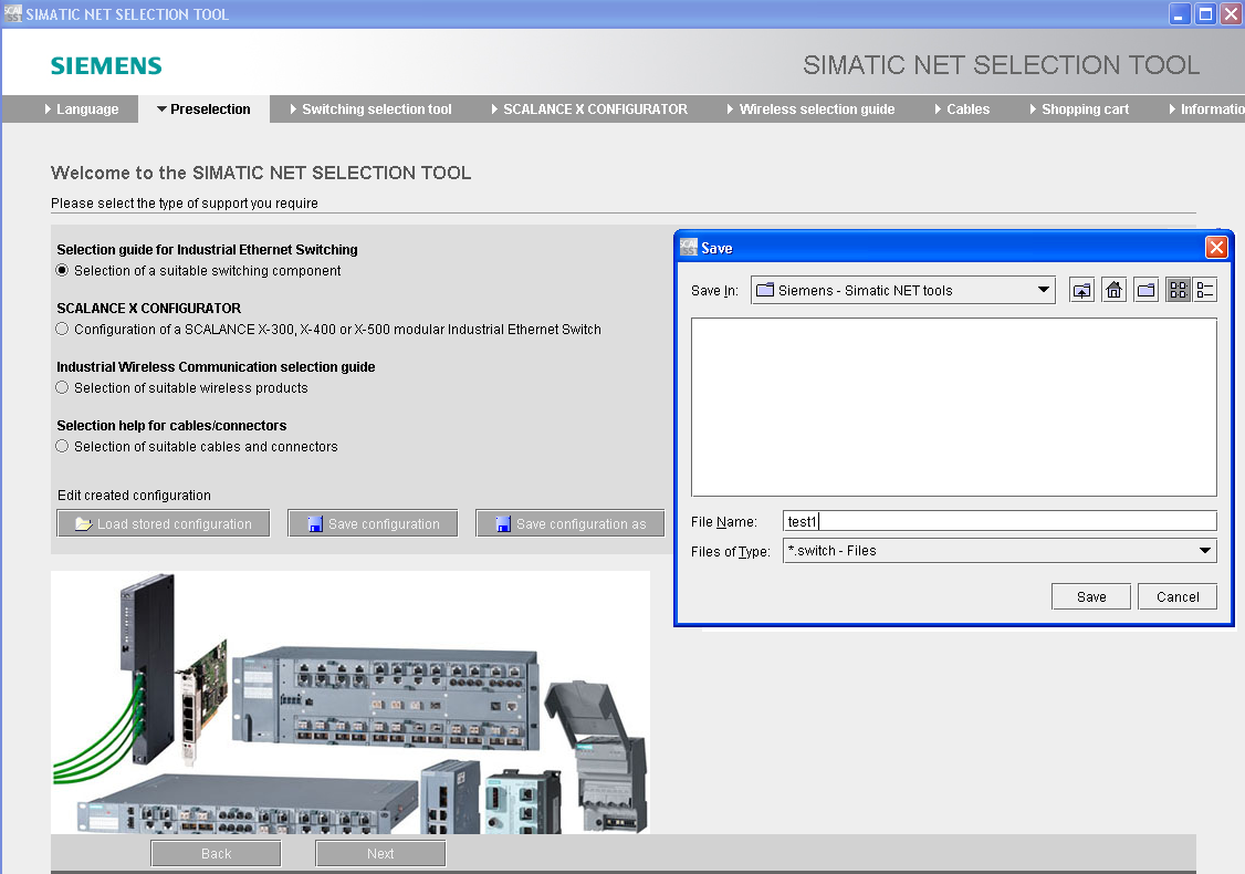 simatic net selection tool online konfigur tor. Black Bedroom Furniture Sets. Home Design Ideas